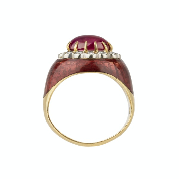 Retro cabochon ruby, diamond and enamel cluster ring - image 2