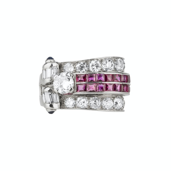 Retro diamond and calibre ruby cocktail ring - image 1