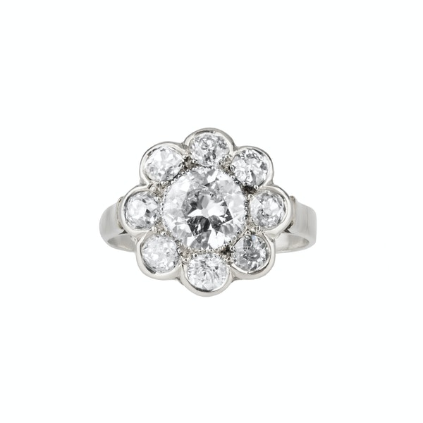 Art Deco diamond flower shape cluster ring - image 1