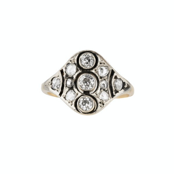 Art Deco diamond tablet ring in 18 ct gold and platinum - image 1