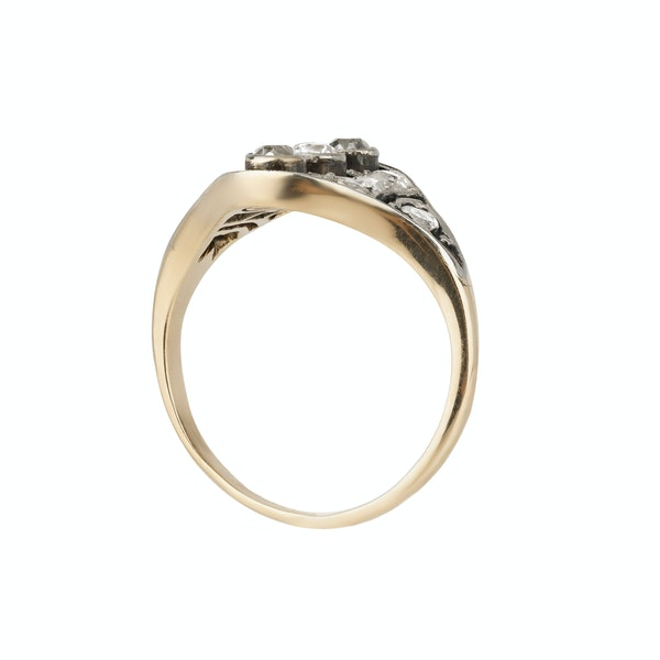 Art Deco diamond tablet ring in 18 ct gold and platinum - image 2
