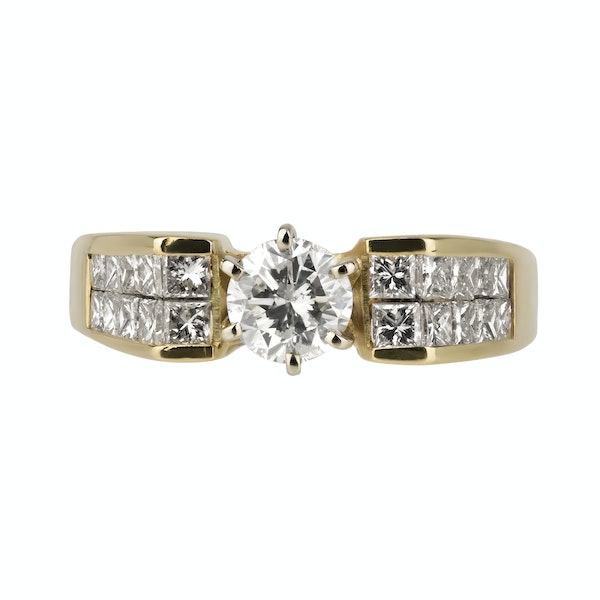 Retro diamond ring with modern brilliant cut centre and extended diamond shoulders - image 1
