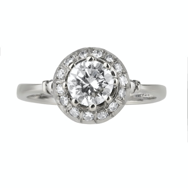 Art Deco round diamond cluster ring - image 2
