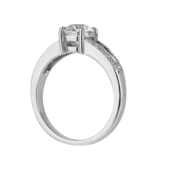 Diamond solitaire ring with diamond shoulders and ruby insets - image 2