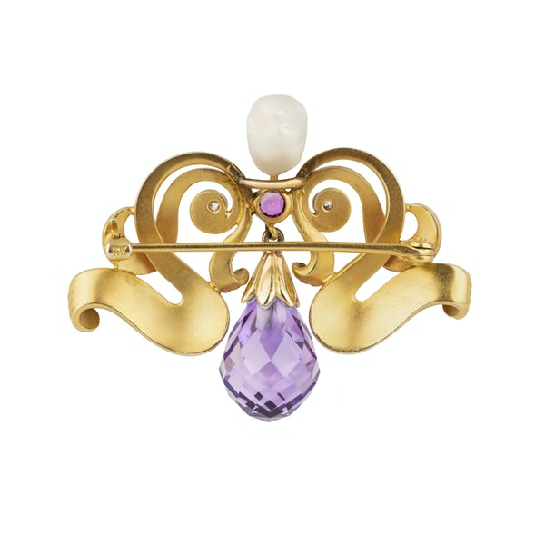 Art Nouveau 10 ct gold diamond, ruby, pearl and amethyst drop brooch - image 2