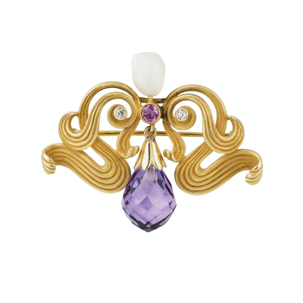 Art Nouveau 10 ct gold diamond, ruby, pearl and amethyst drop brooch - image 1
