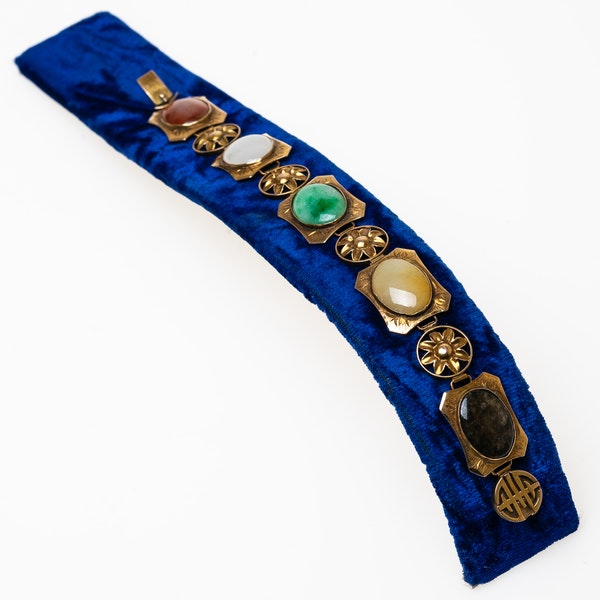 5 types of jade 14 ct gold bracelet - image 1