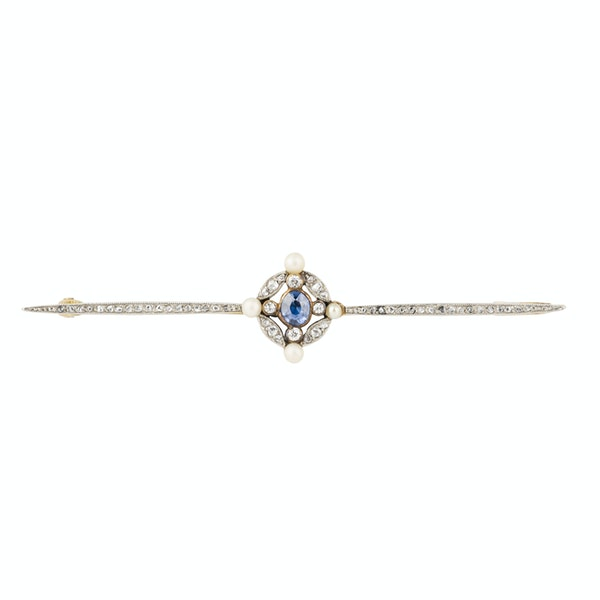 Edwardian diamond, sapphire and pearl bar brooch in 18 ct gold - image 1
