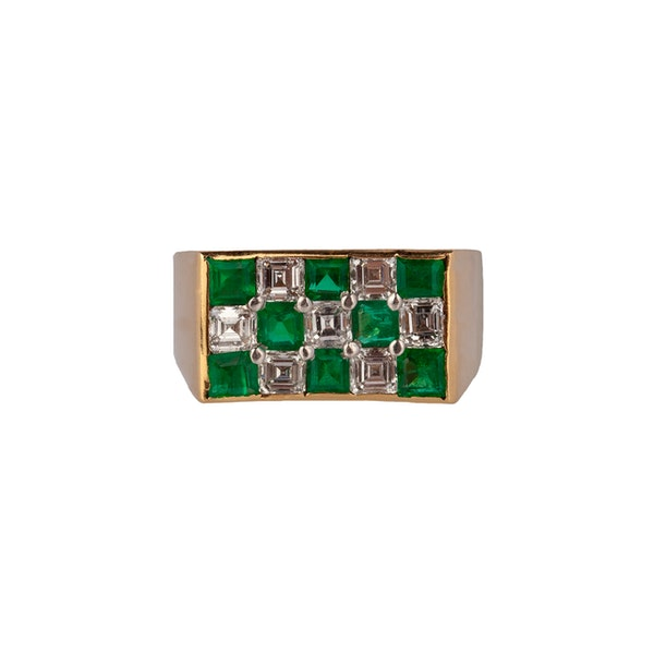 Emerald and Diamond Chequerboard Ring by Oscar Hayman - image 1