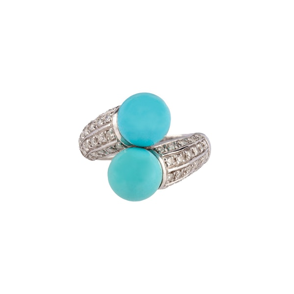 Crossover Turquoise and Diamond ring - image 1