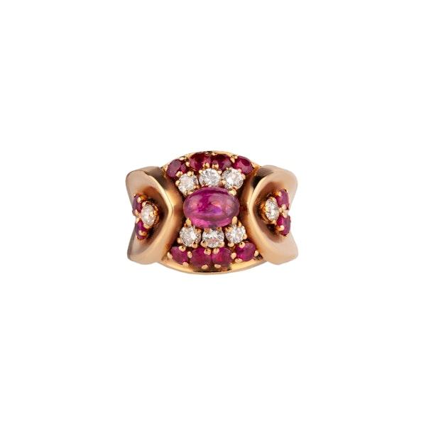Cabochon Burma Ruby and Diamond dress ring - image 1