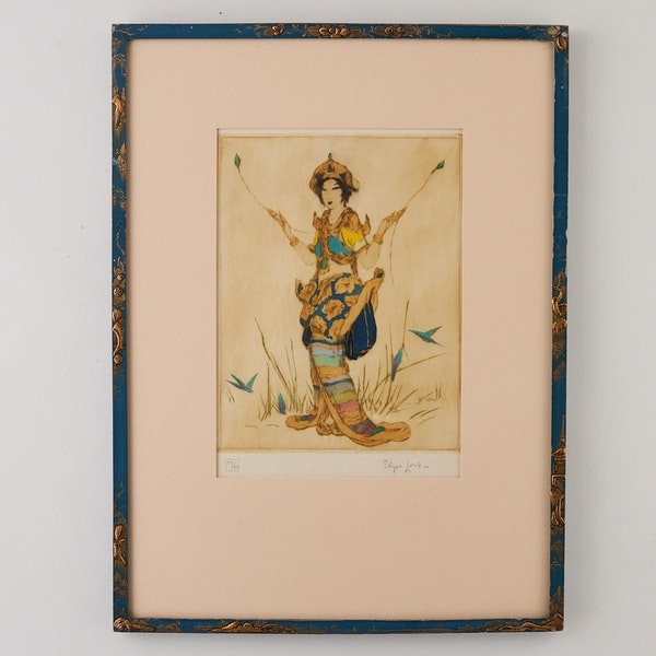 """AN ELYSE LORD COLOURED ETCHING, """"TWO FEATHERS"""" , 1920'Sred - image 1"""