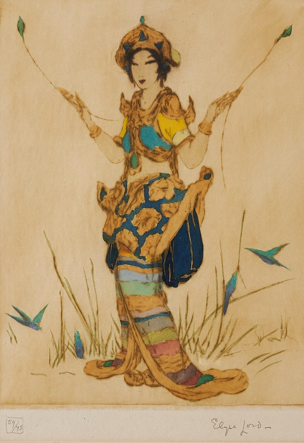 """AN ELYSE LORD COLOURED ETCHING, """"TWO FEATHERS"""" , 1920'Sred - image 2"""