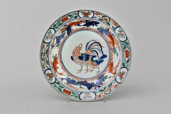 A FINE KO-IMARI IROE EXTREMELY RARE ROOSTER AND CHICK DESIGN BOWL, CA 1700, EARLY 18TH CENTURY - image 1