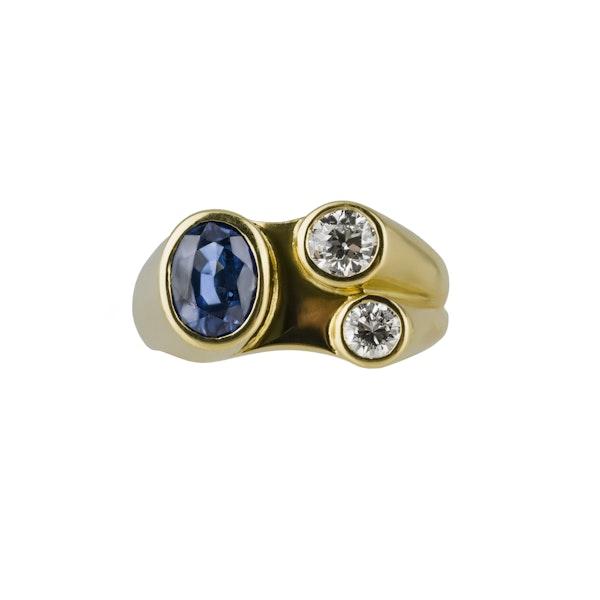 70'S Sapphire and Diamond Ring - image 3