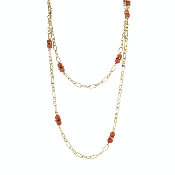 Coral and Gold Chain - image 1