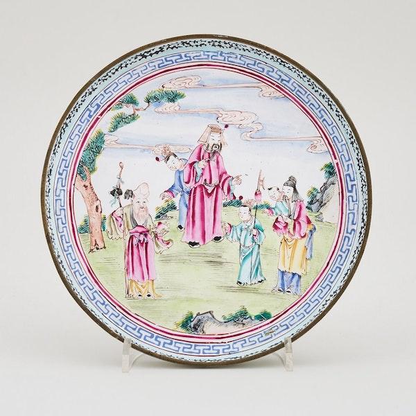 A CHINESE FAMILLE ROSE QIANLONG CANTON ENAMEL DISH, QIANLONG (1736-1795) - image 1