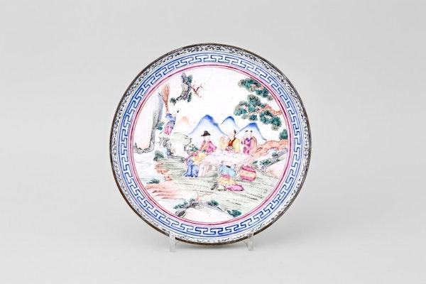A CHINESE FAMILLE ROSE QIANLONG CANTON ENAMEL DISH, QIANLONG 1736-1795 - image 1