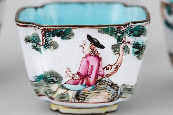 FOUR A CHINESE CANTON ENAMEL SQUARE CUPS, QIANLONG (1736 – 1795 - image 1