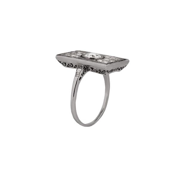 1920s diamond sapphire rectangular ring - image 2