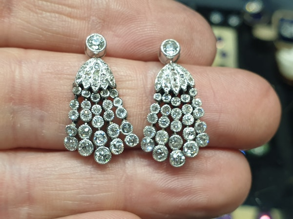 Pair of belle epoque diamond tassel drop earrings  DBGEMS - image 3
