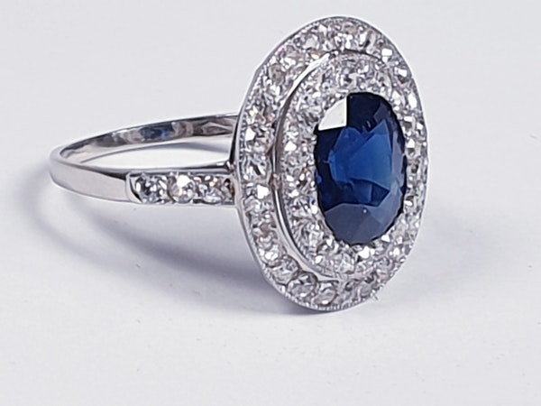 Belle epoque sapphire and diamond engagement ring  DBGEMS - image 3