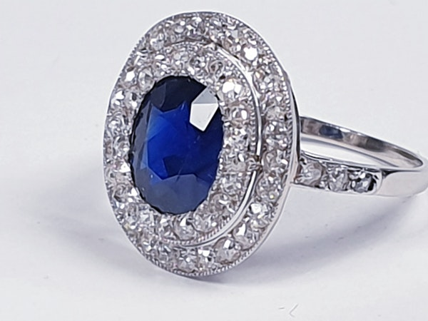 Belle epoque sapphire and diamond engagement ring  DBGEMS - image 2