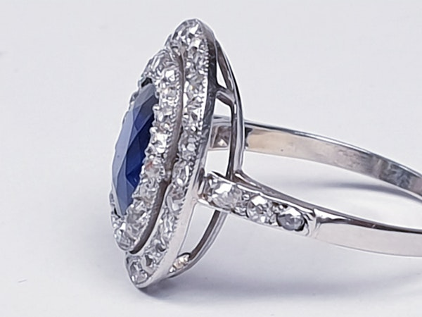 Belle epoque sapphire and diamond engagement ring  DBGEMS - image 6
