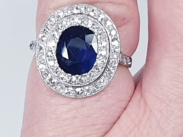 Belle epoque sapphire and diamond engagement ring  DBGEMS - image 4