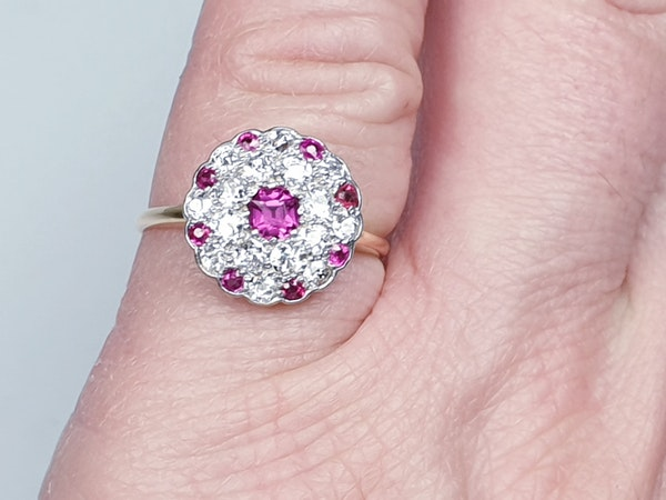 Edwardian ruby and diamond cluster ring  DBGEMS - image 2