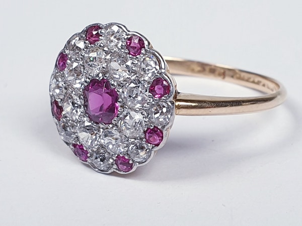 Edwardian ruby and diamond cluster ring  DBGEMS - image 5