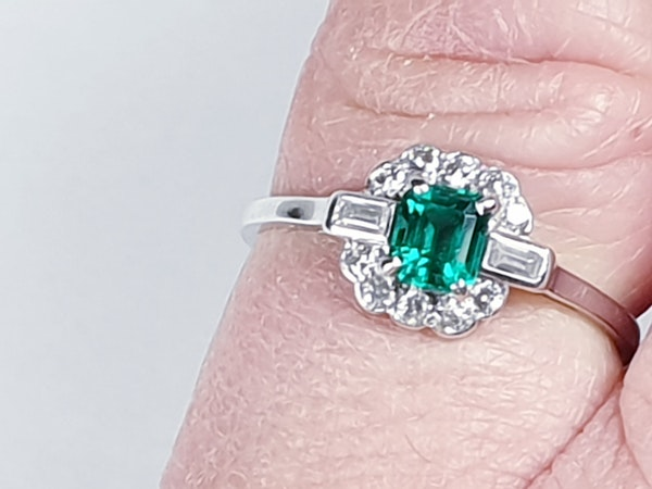 Art deco gem emerald and diamond engagement ring 4778    DBGEMS - image 2