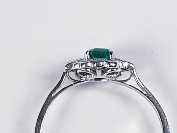 Art deco gem emerald and diamond engagement ring 4778    DBGEMS - image 4
