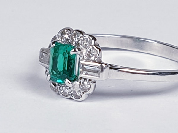 Art deco gem emerald and diamond engagement ring 4778    DBGEMS - image 5