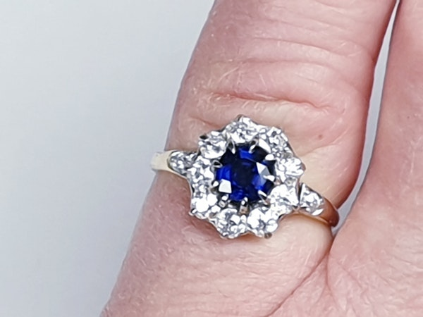 Antique sapphire and diamond engagement ring 4780   DBGEMS - image 3