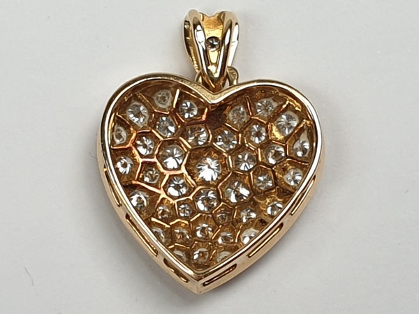 French 18ct gold and pave diamond heart  DBGEMS - image 4