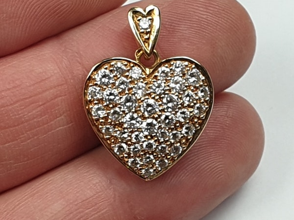 French 18ct gold and pave diamond heart  DBGEMS - image 2