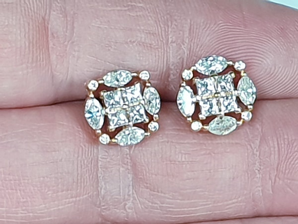Marquise and princess cut diamond earrings - image 2