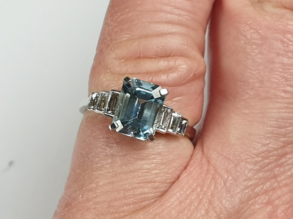 Aquamarine and Baguette Diamond Ring 4759   DBGEMS - image 2