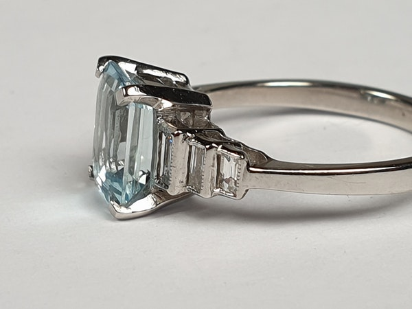 Aquamarine and Baguette Diamond Ring 4759   DBGEMS - image 3