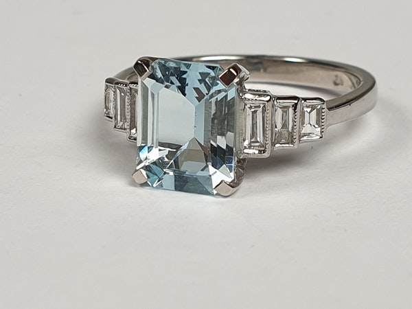Aquamarine and Baguette Diamond Ring 4759   DBGEMS - image 4