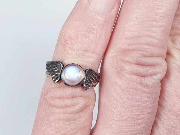 Arts and crafts Winged Moonstone Ring  DBGEMS - image 4