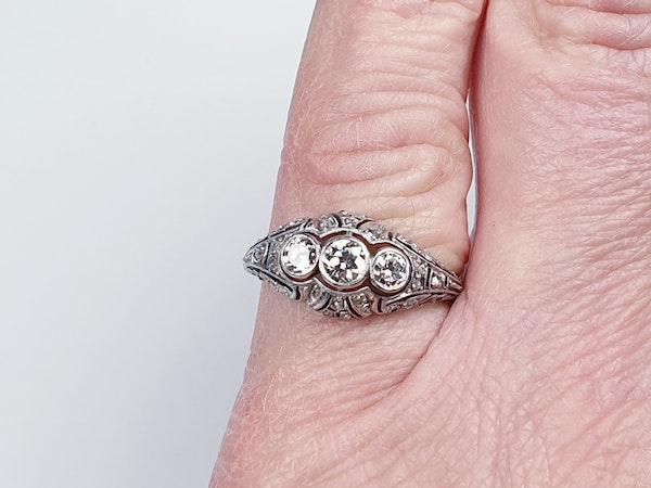 Antique Intricate Diamond Platinum Engagement Ring  DBGEMS - image 2
