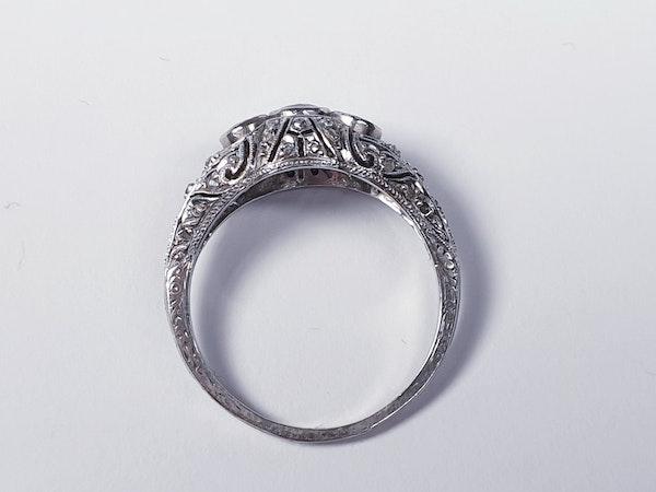 Antique Intricate Diamond Platinum Engagement Ring  DBGEMS - image 3