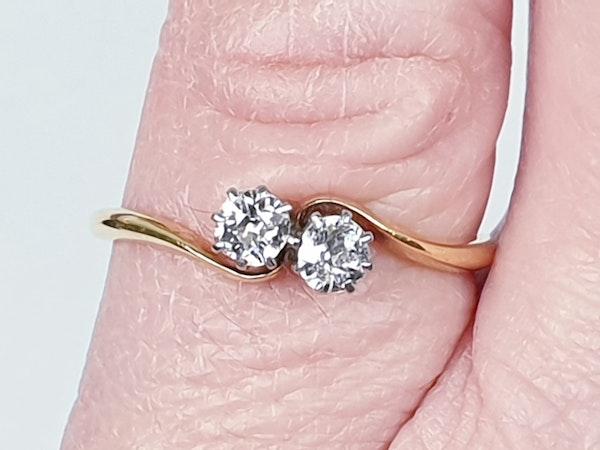 Edwardian Diamond Cross Over Ring 1852  DBGEMS - image 2