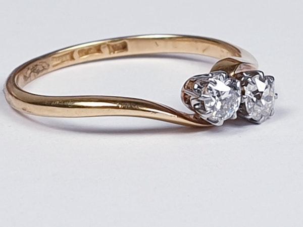 Edwardian Diamond Cross Over Ring 1852  DBGEMS - image 4