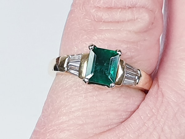 Emerald and Baguette Diamond Ring 1661  DBGEMS - image 3