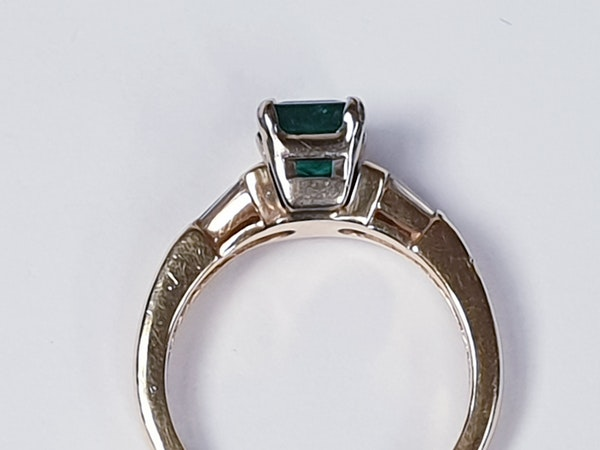 Emerald and Baguette Diamond Ring 1661  DBGEMS - image 2