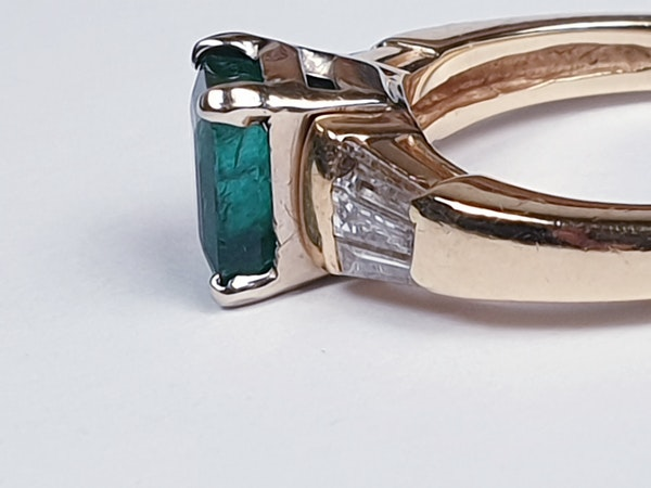 Emerald and Baguette Diamond Ring 1661  DBGEMS - image 4