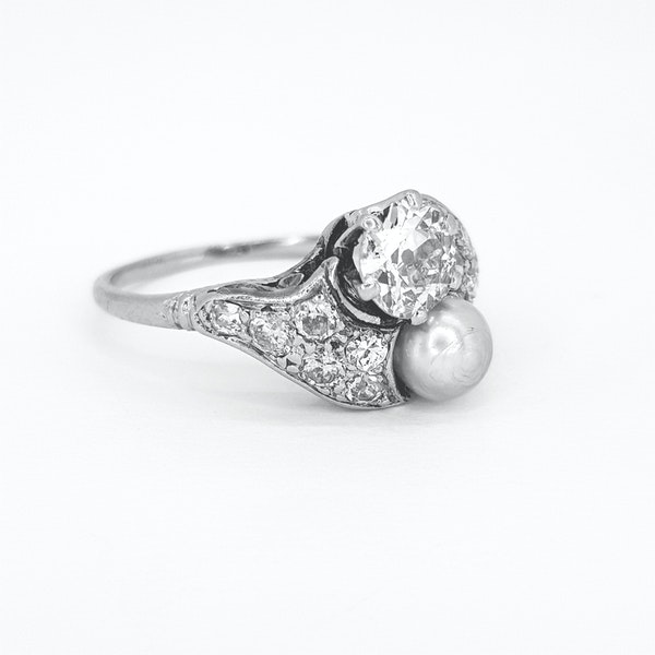 Belle époque Natural Pearl and Diamond ring - image 2